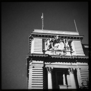Swiss bank building in downtown Geneva